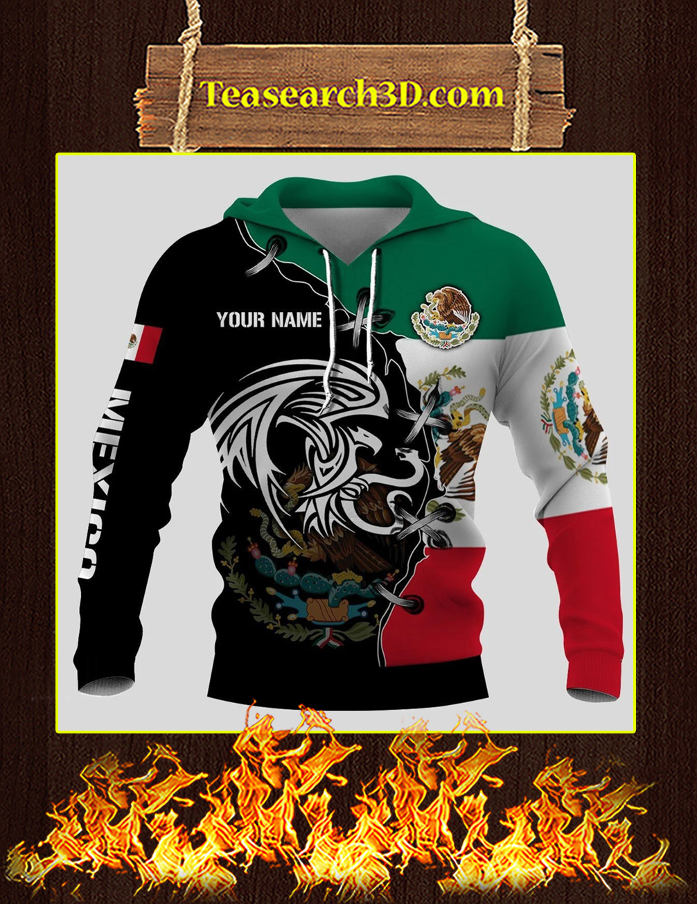 Mexico golden eagle personalize custom name 3d full printing hoodie front