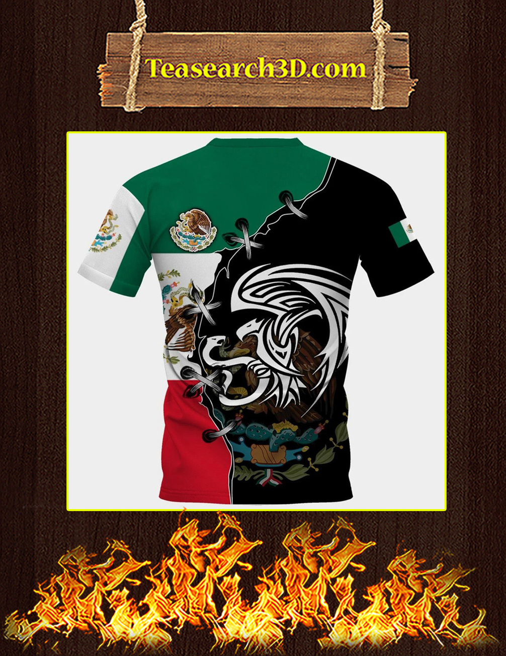 Mexico golden eagle personalize custom name 3d full printing t-shirt back