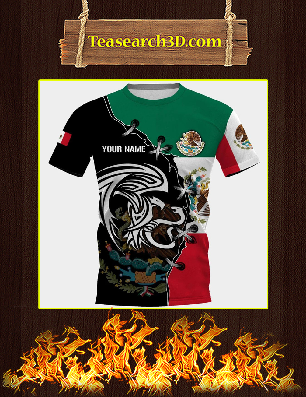Mexico golden eagle personalize custom name 3d full printing t-shirt
