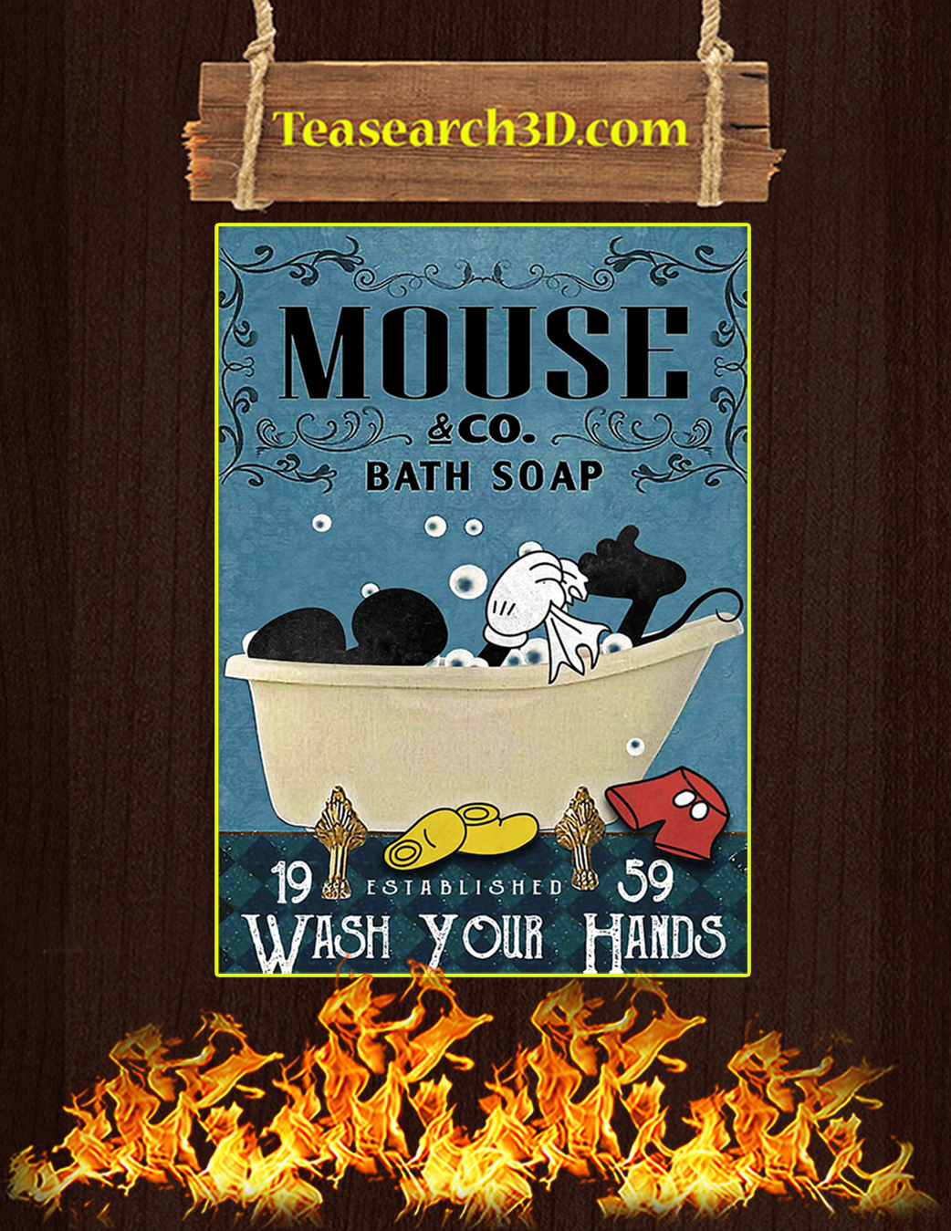 Mouse Co Bath Soap Wash Your Hands poster A1