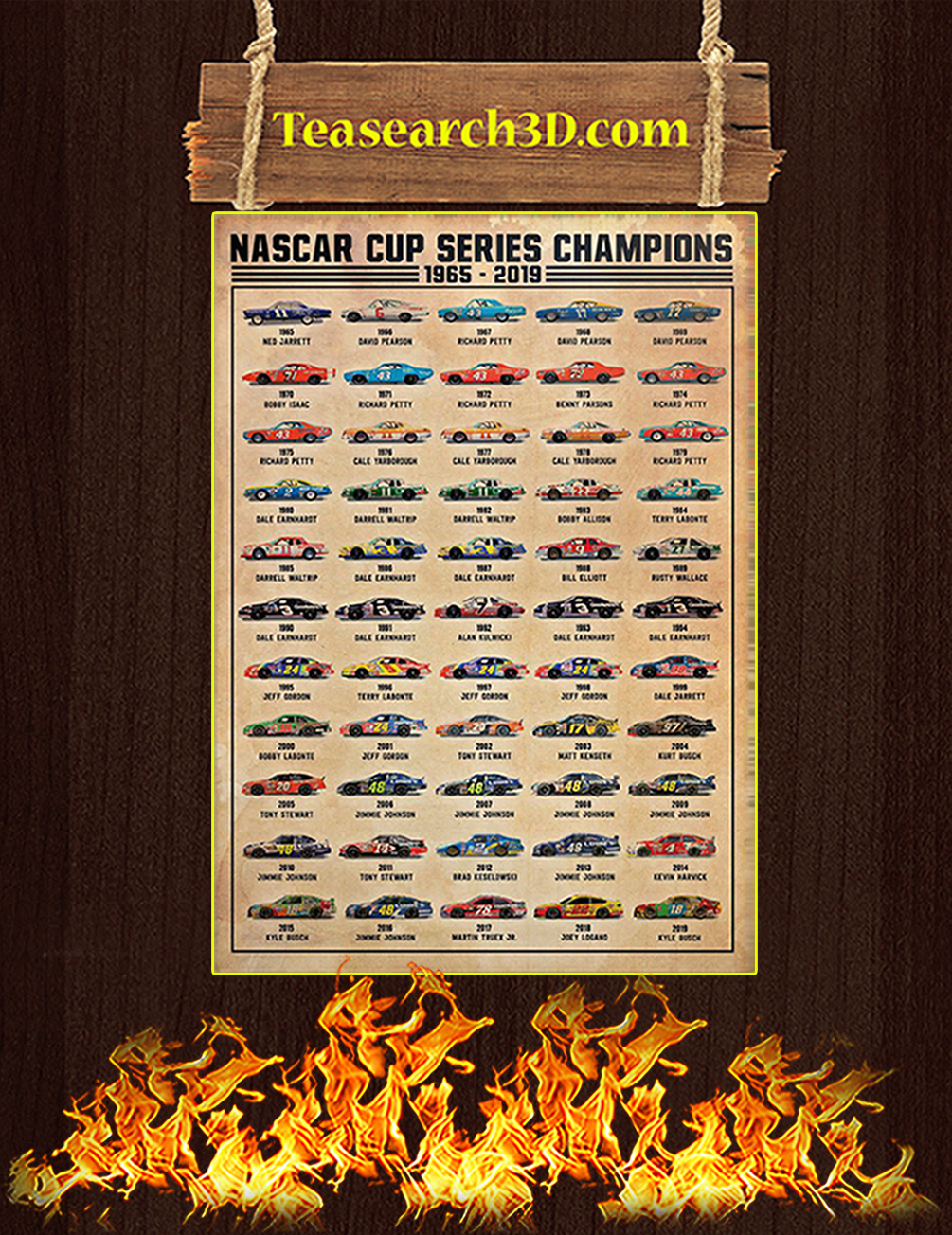 Nascar cup series champions 1965 2019 poster