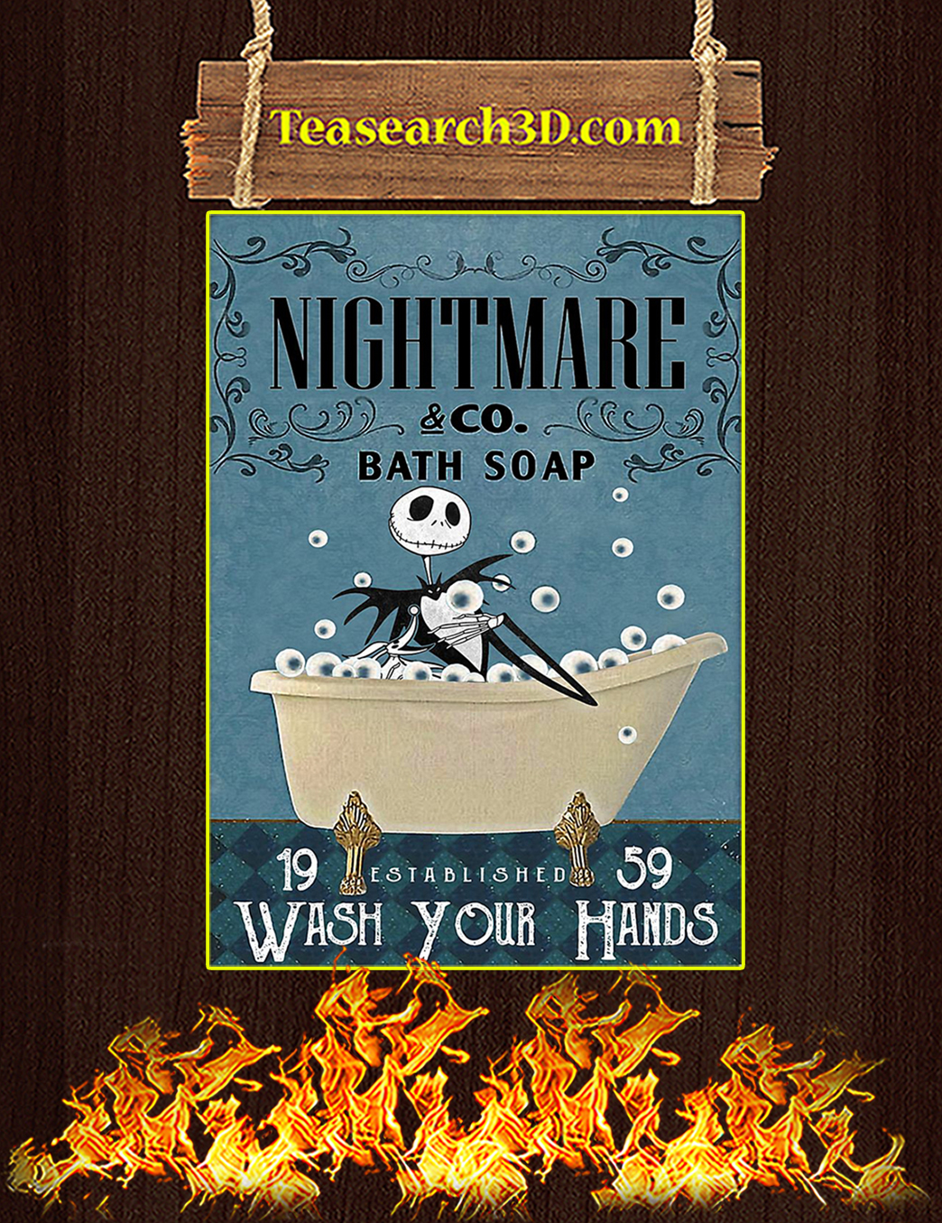 Nightmare co bath soap wash your hands poster A1