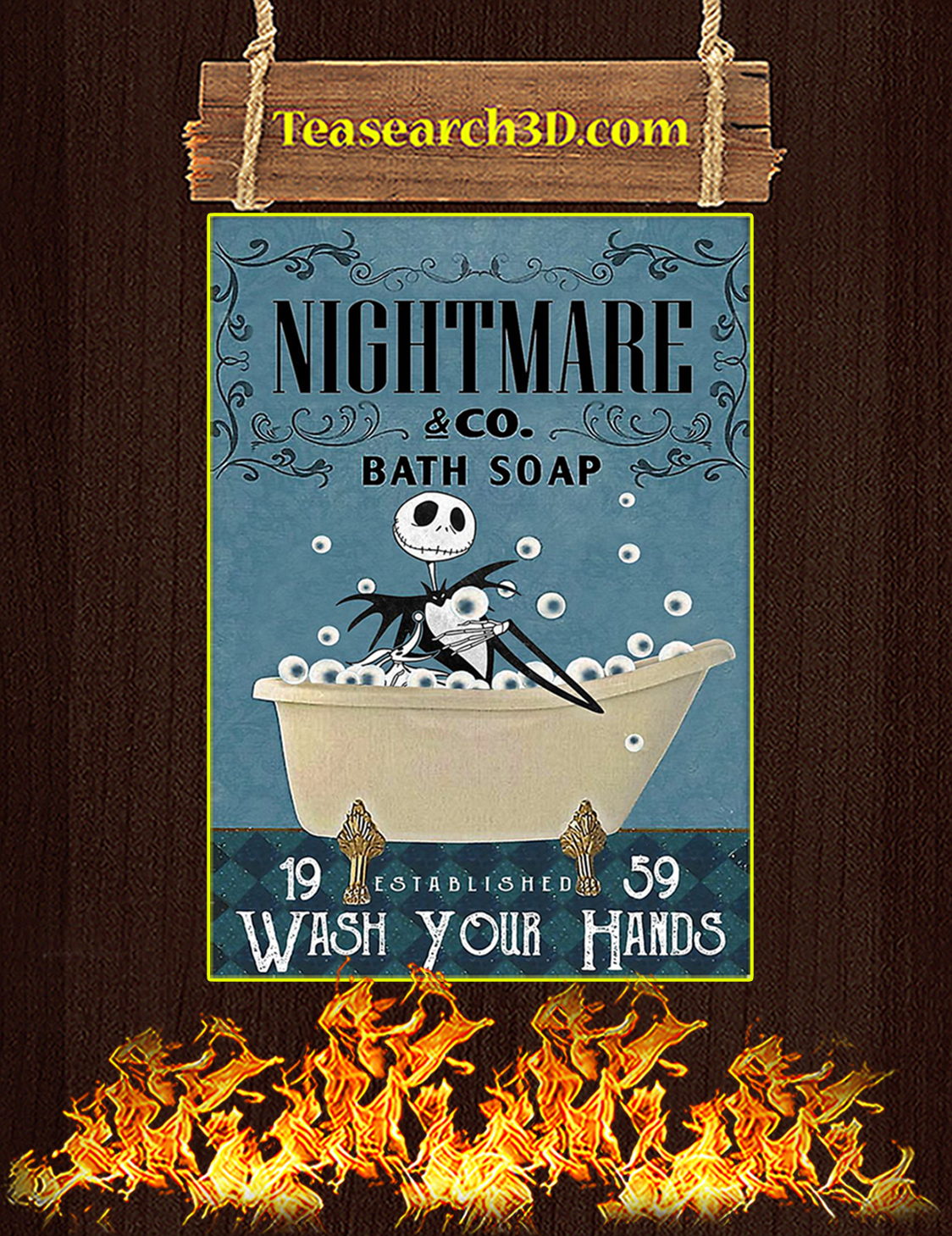Nightmare co bath soap wash your hands poster A3