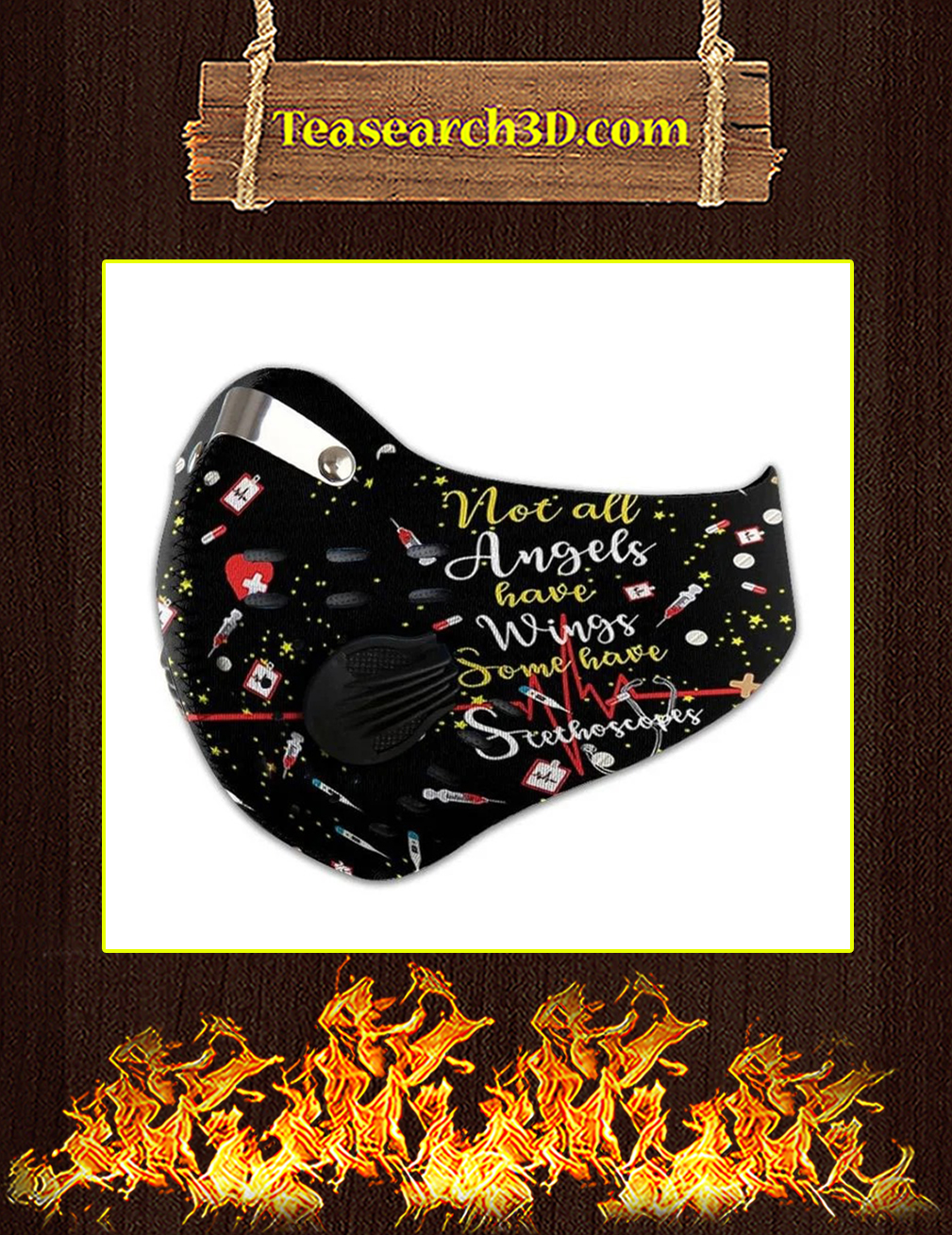 Nurse Angles Custom Name Filter Activated Carbon Pm 2.5 Fm Face Mask Pic 2