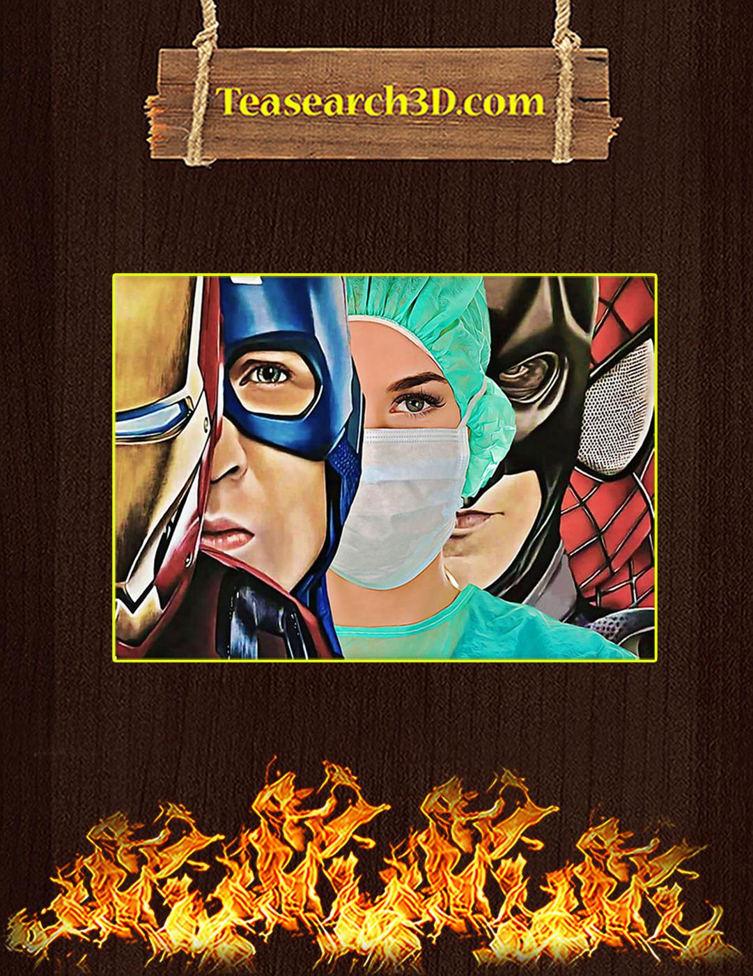 Nurse Marvel Superheroes Iron Man Captain America Poster A2