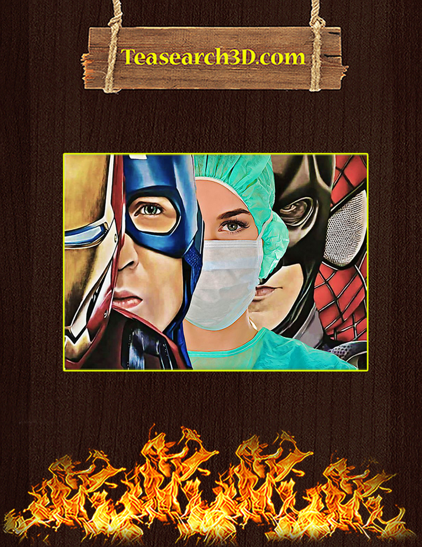 Nurse Marvel Superheroes Iron Man Captain America Poster A3