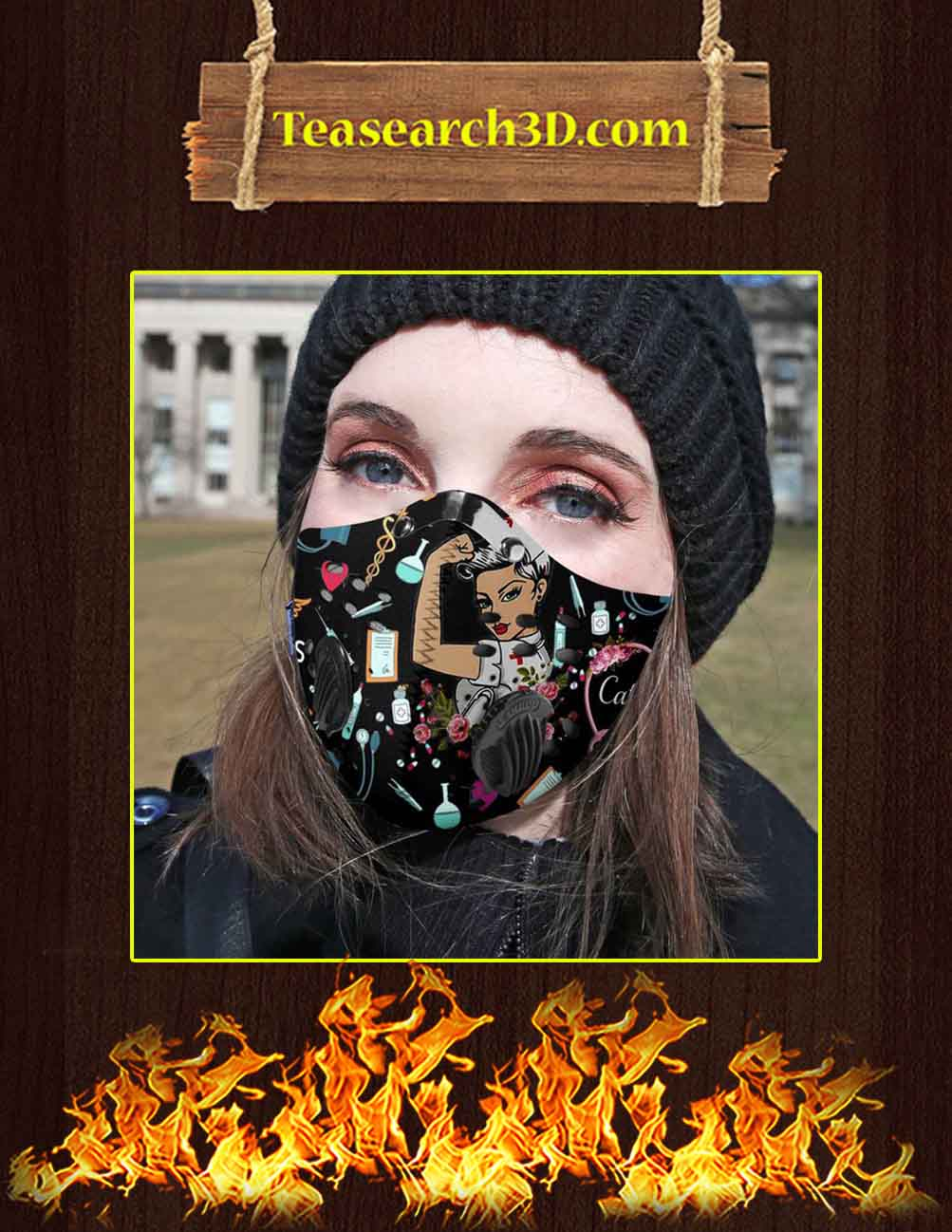 Nurse Pride Custom Name Personalized Filter Face Mask Pic 2