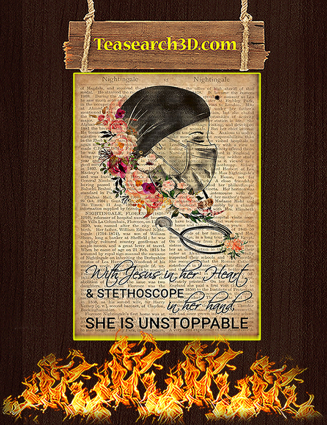 Nurse With Jesus in her heart she is unstoppable poster A3