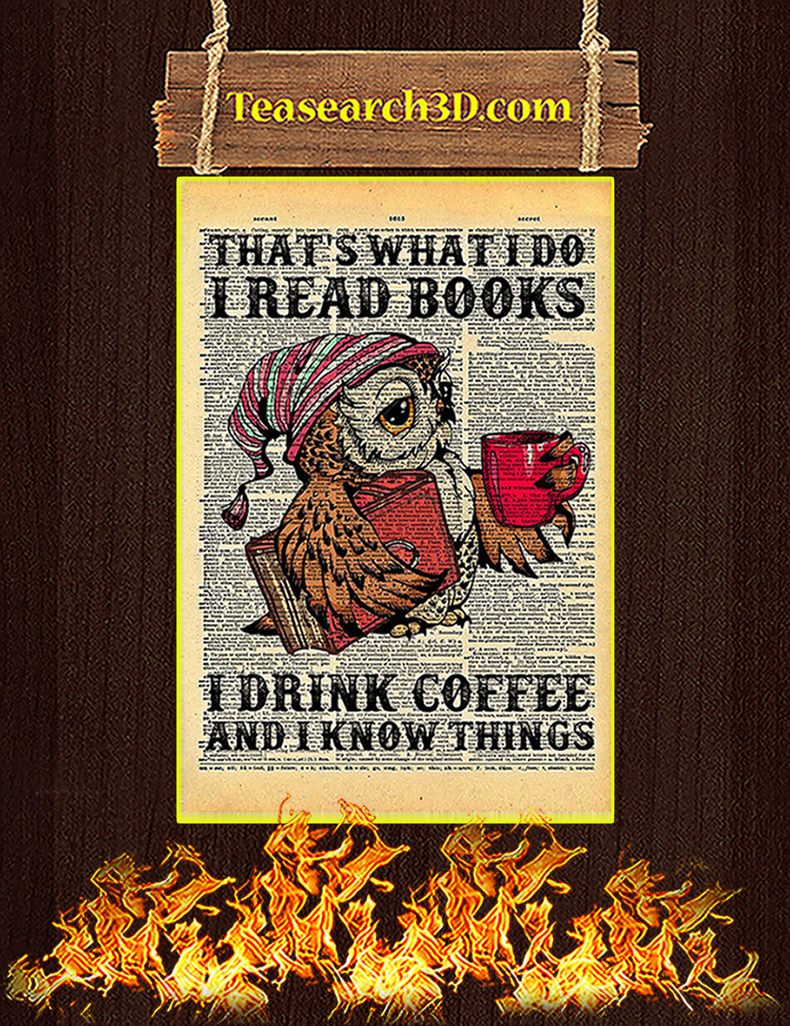 Owl That's what I do I read books drink coffee poster A3