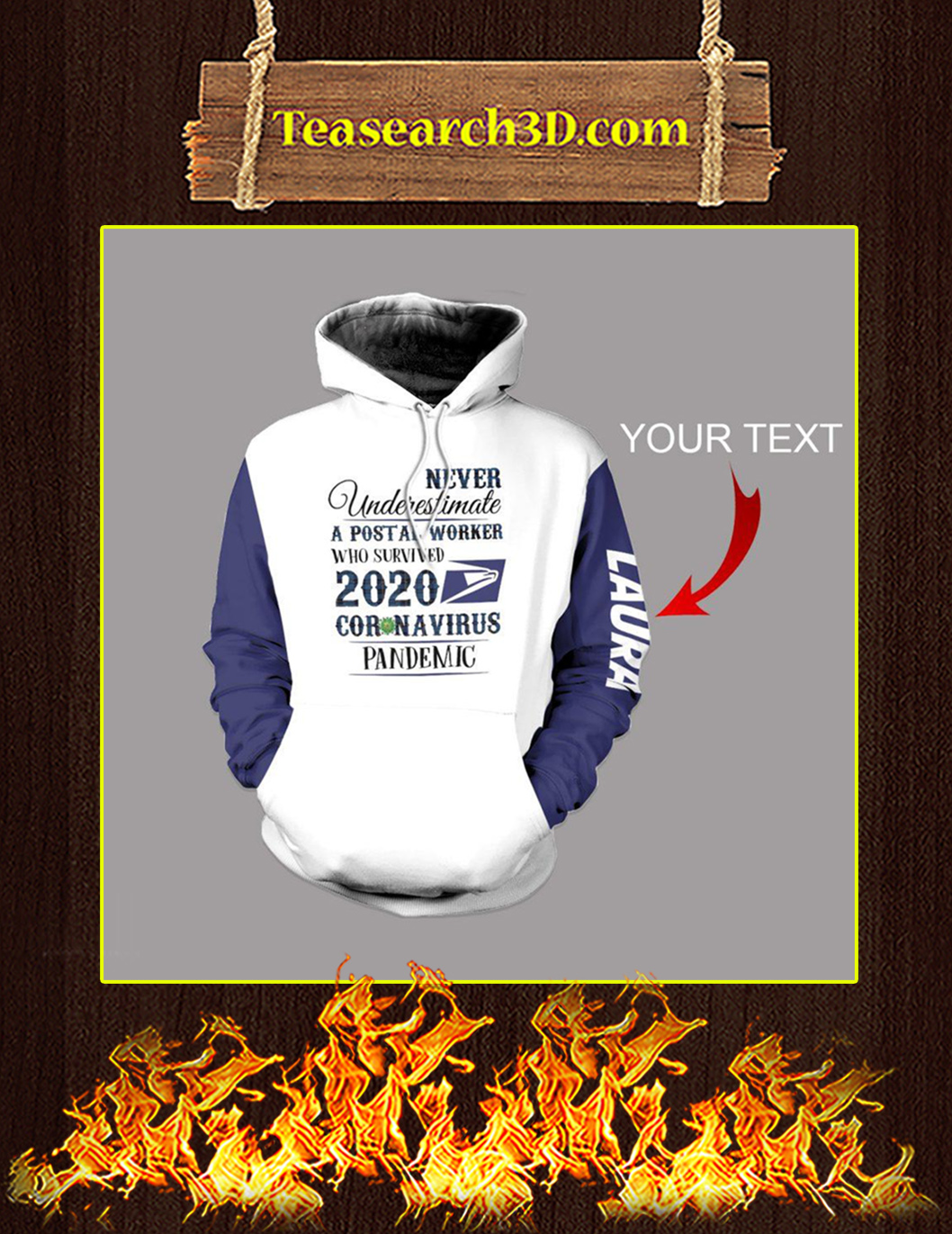 Personalized Never Underestimate A Postal Worker Coronavirus 3d hoodie Pic 1