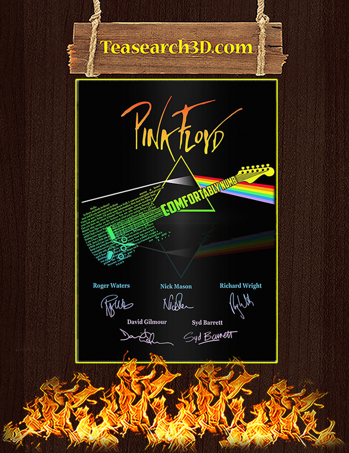 Pink floyd comfortably numb signature poster A3