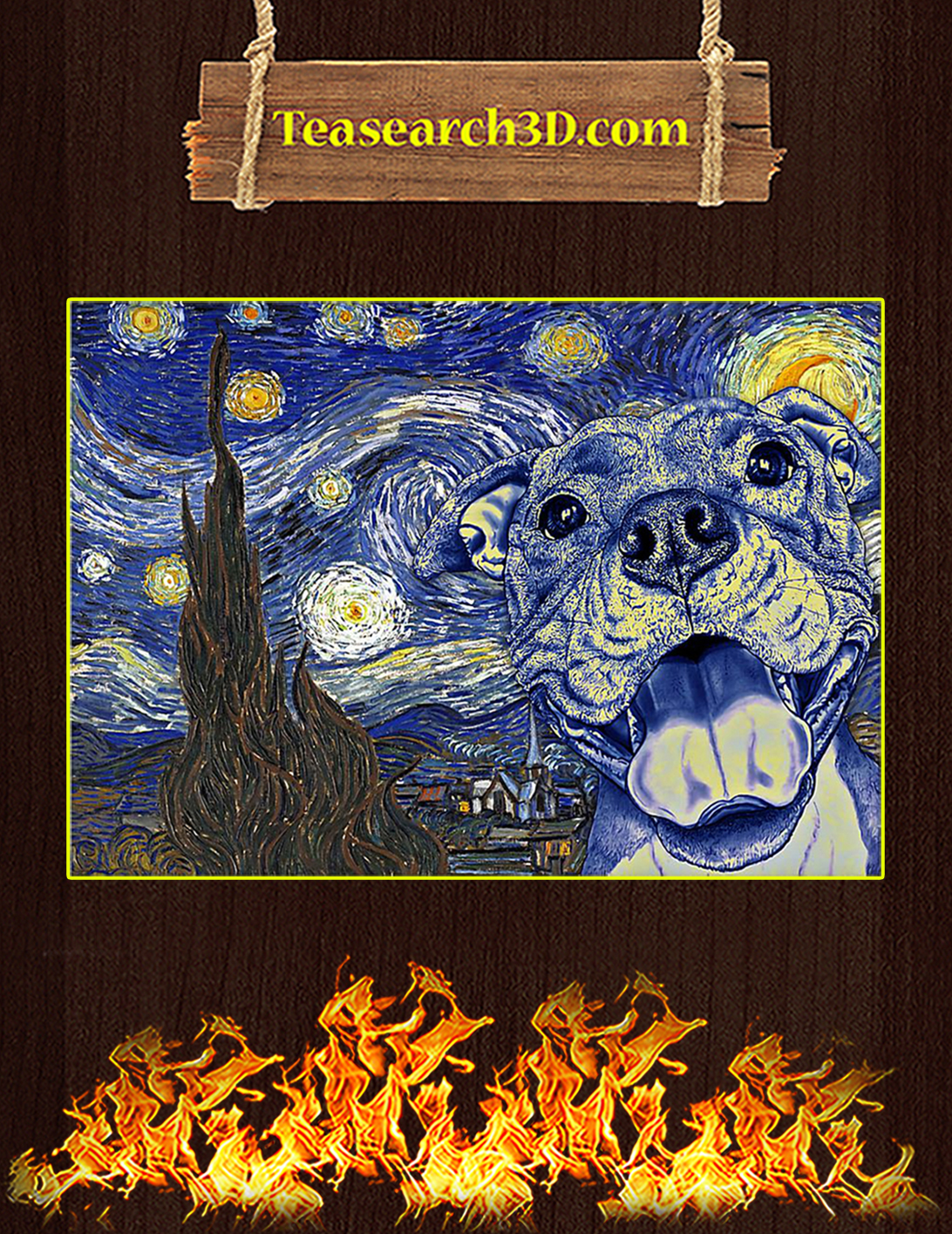 Pit Bull Van Gogh Starry Night Poster A2