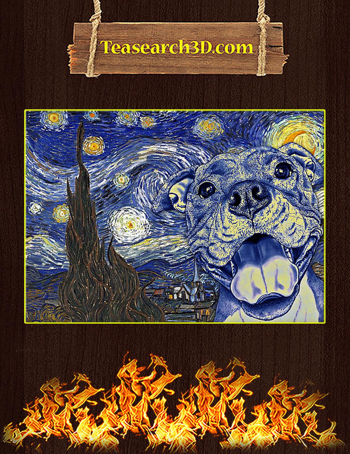 Pit Bull Van Gogh Starry Night Poster A3