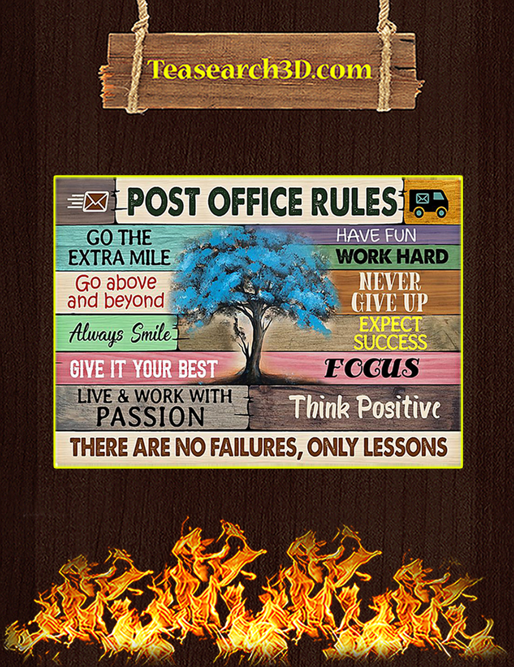 Post office rules tree poster A1