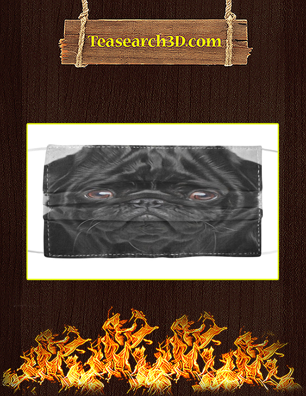 Pug Black Cloth Face Mask