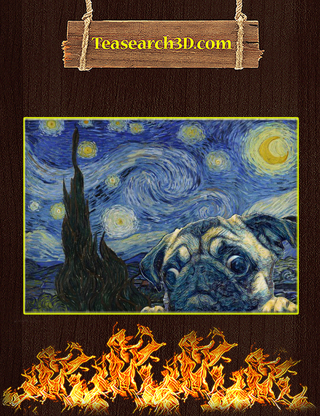 Pug starry night van gogh poster A1