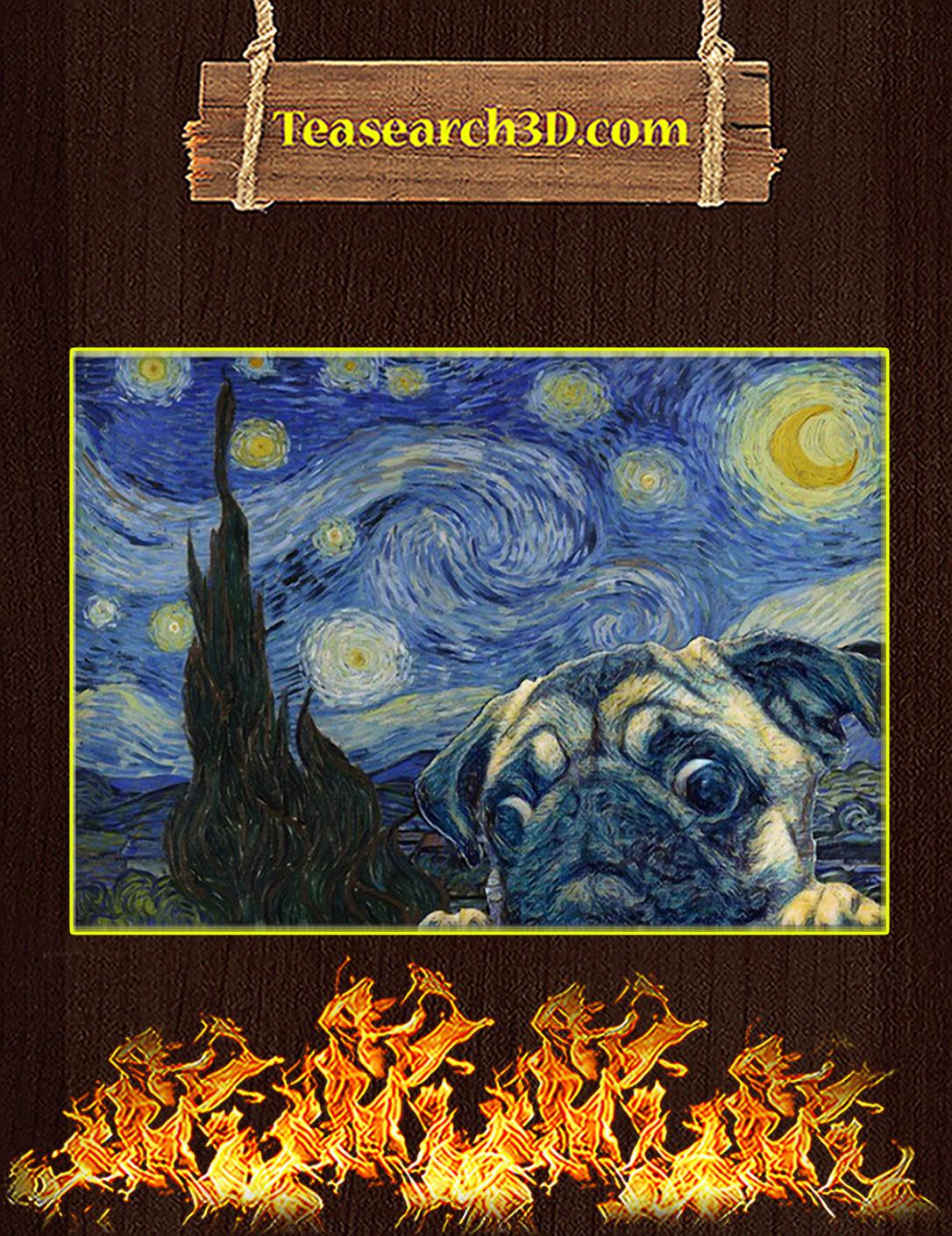Pug starry night van gogh poster A2