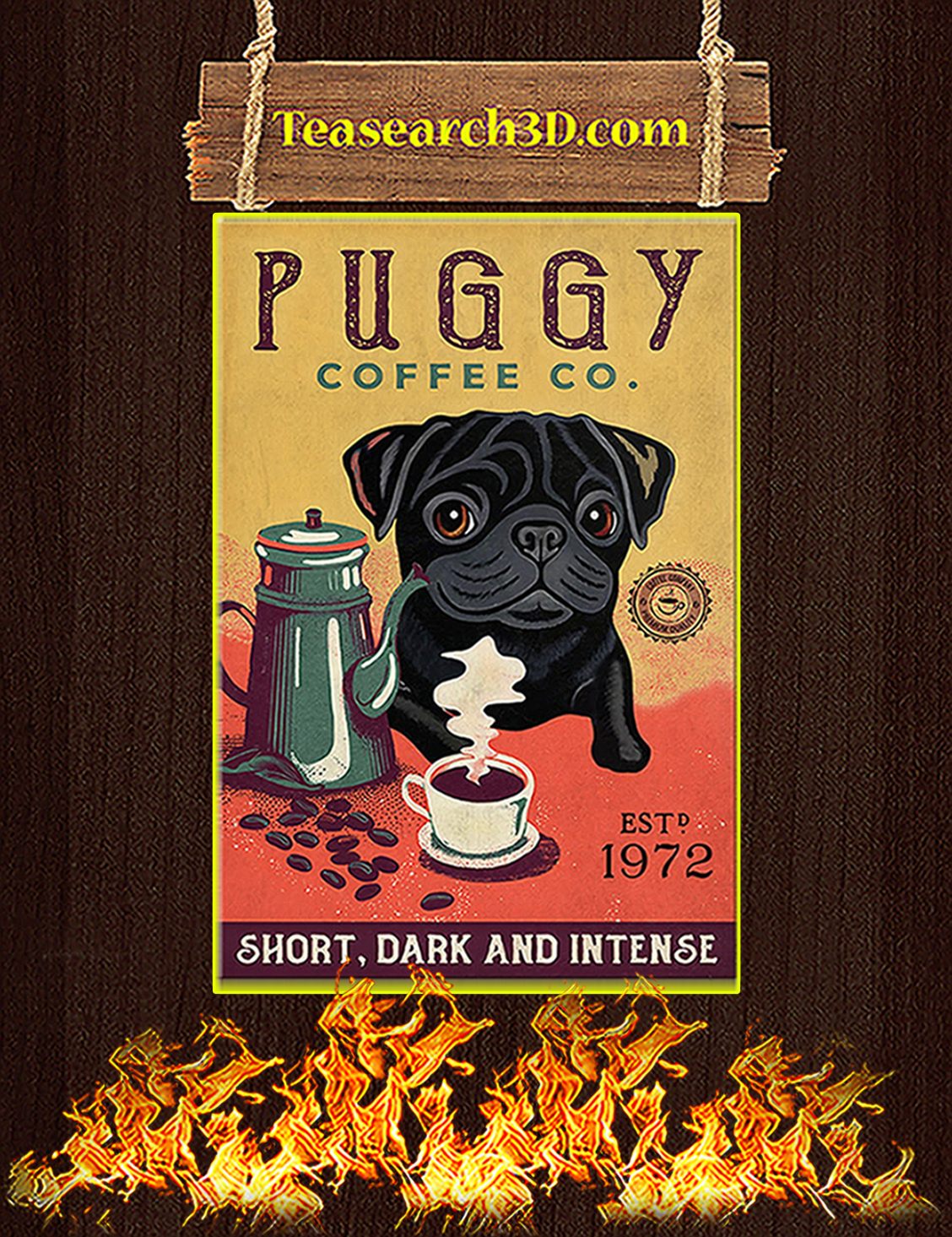 Puggy coffee co short dark and intense poster A3