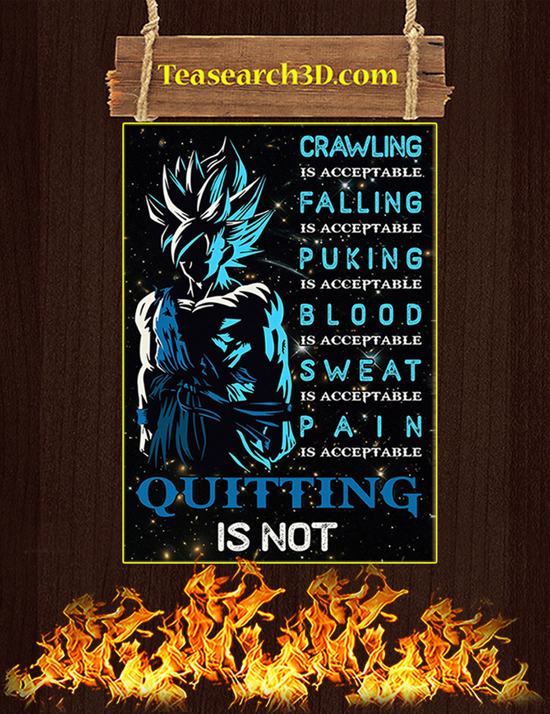 Quitting is not goku dragon ball poster A3