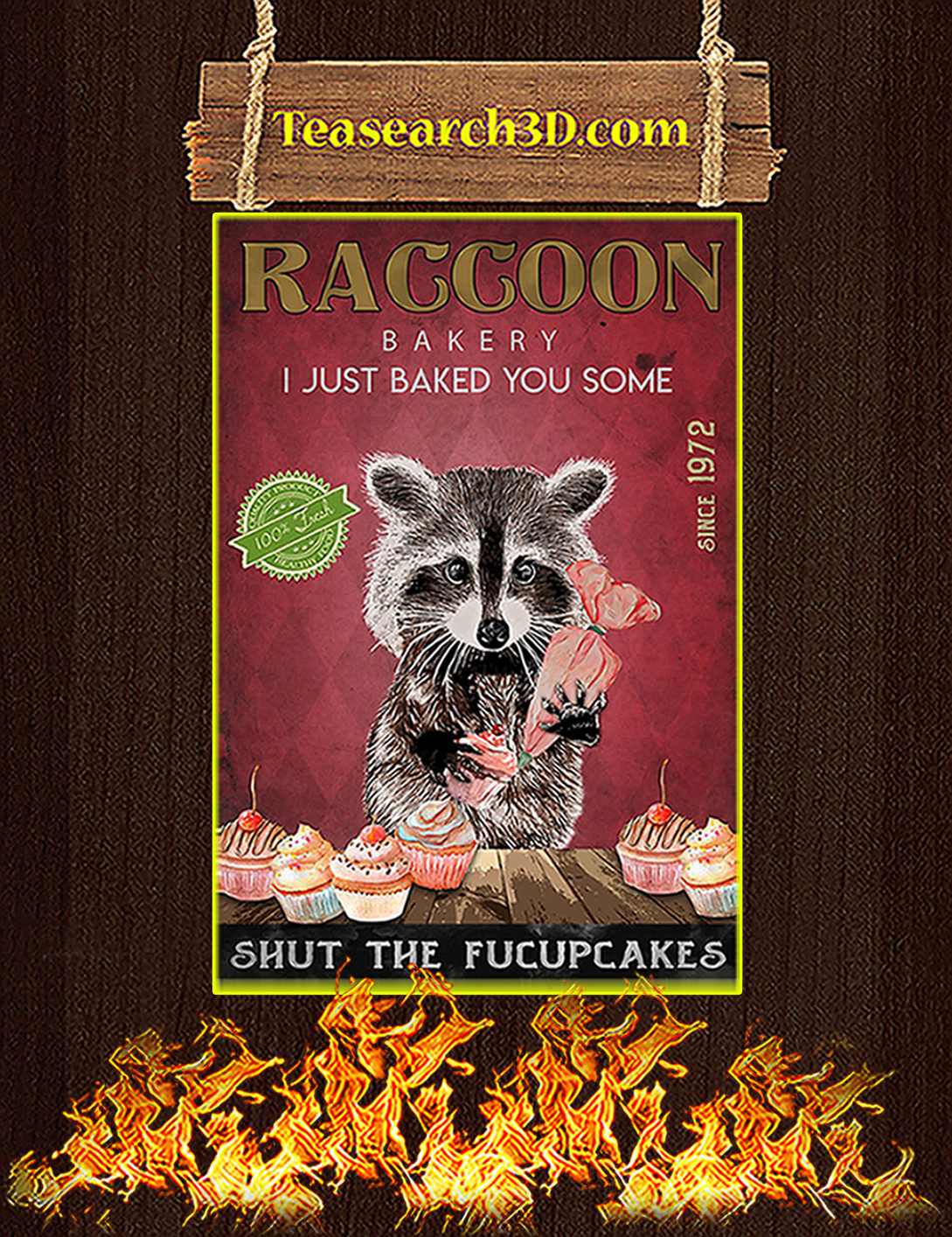 Raccoon bakery I just baked you some poster A2