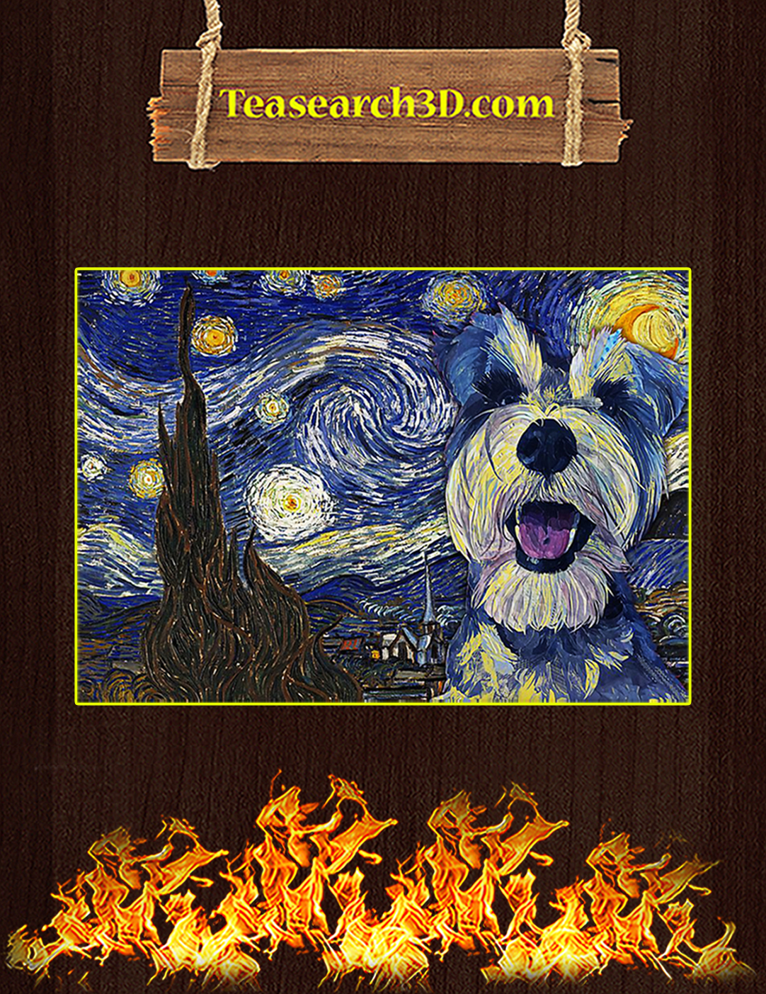 Schnauzer starry night van gogh poster A2