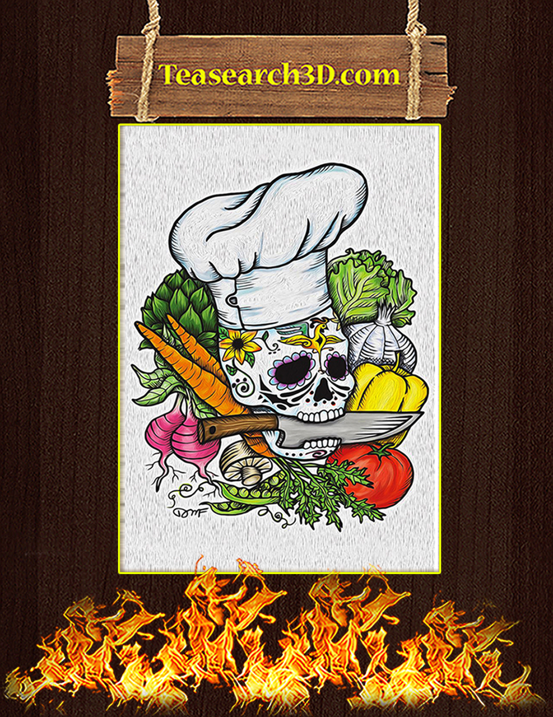 Skull Chef with Vegetable Poster A2