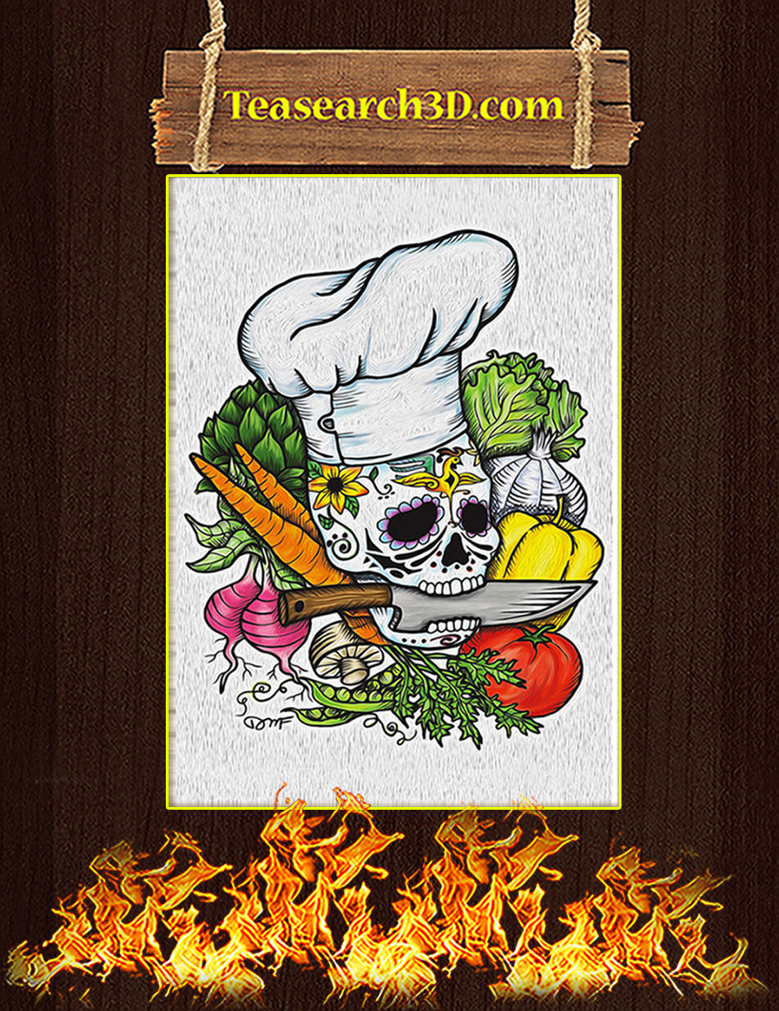 Skull Chef with Vegetable Poster A3
