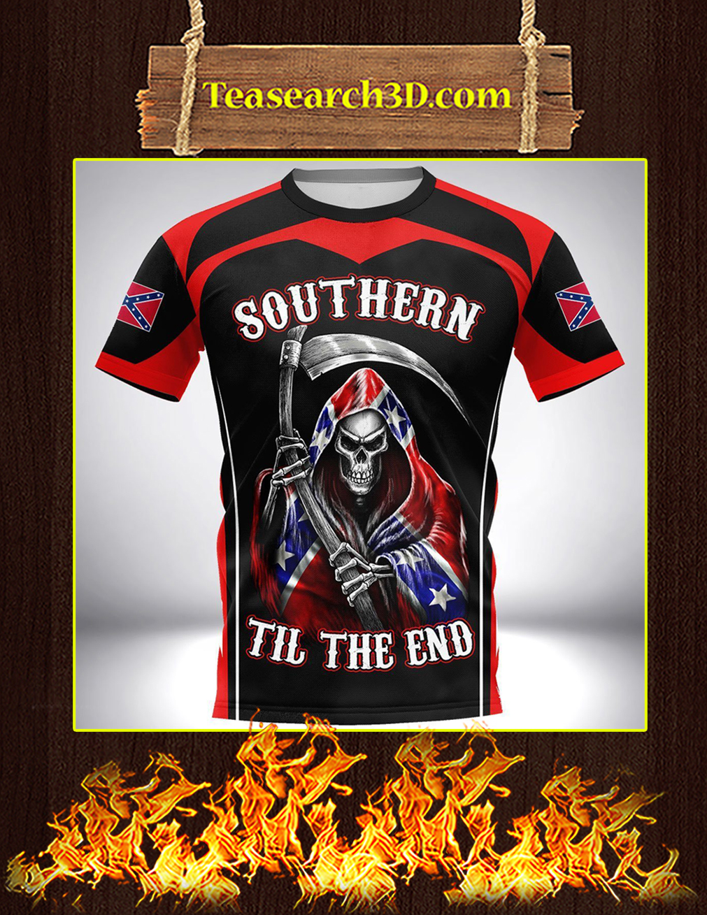 Southern til the end confederate flag 3d full printing shirt front