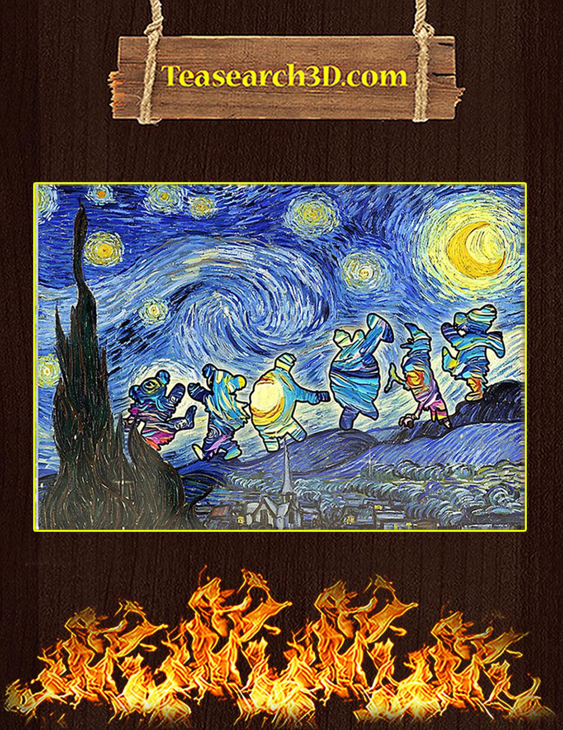 Starry Night Dancing Bear Grateful Dead Poster A3
