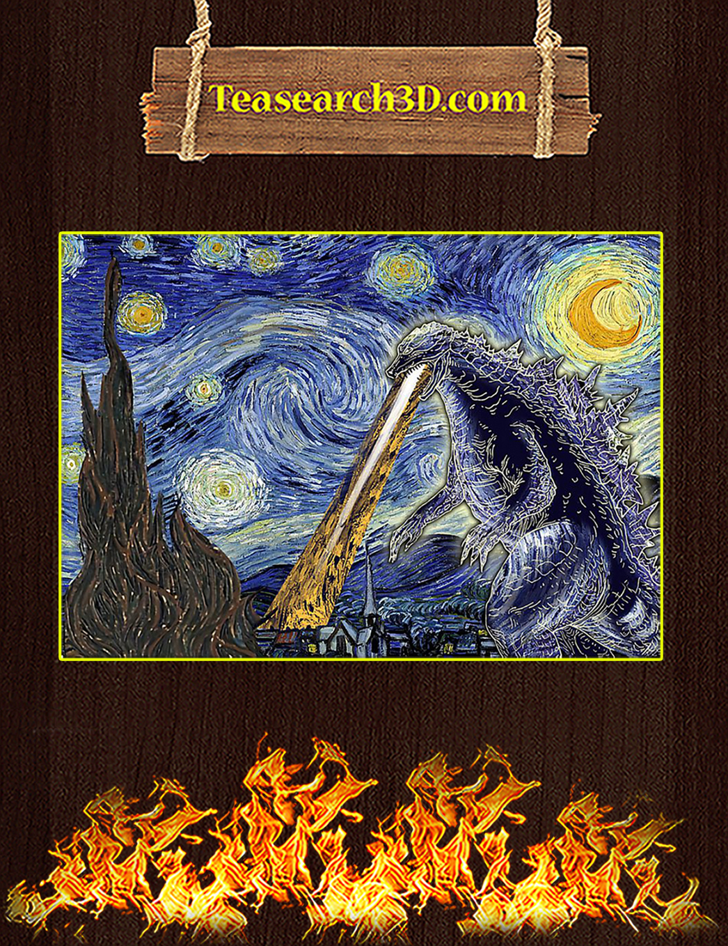 Starry night with godzilla poster A1