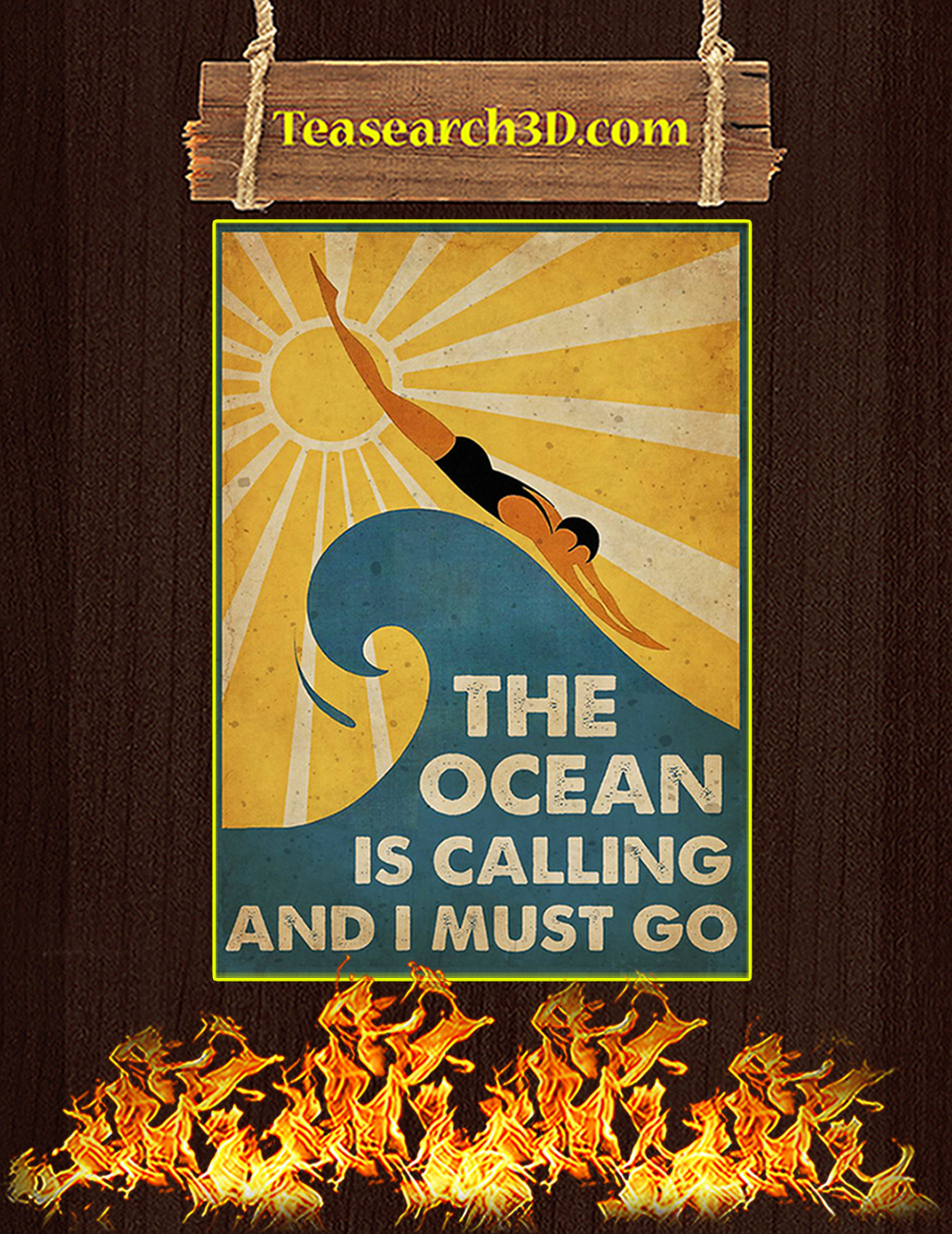 Swimming The ocean is calling and I must go poster A2