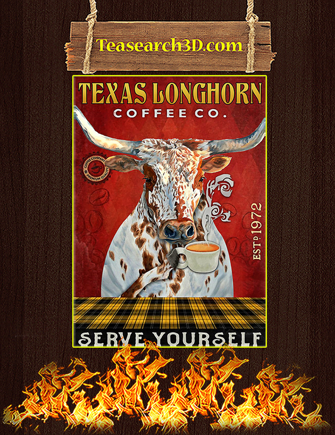 Texas Longhorn Coffee Co Serve Yourself Poster A3
