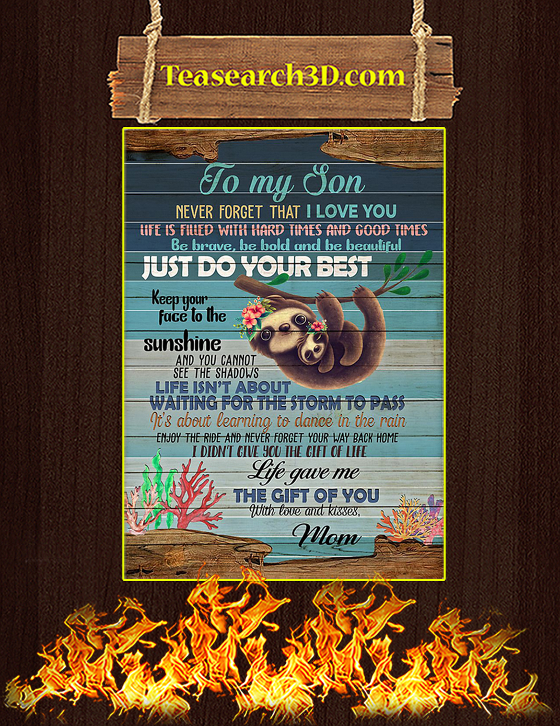 To My Daughter Sloth Poster A3