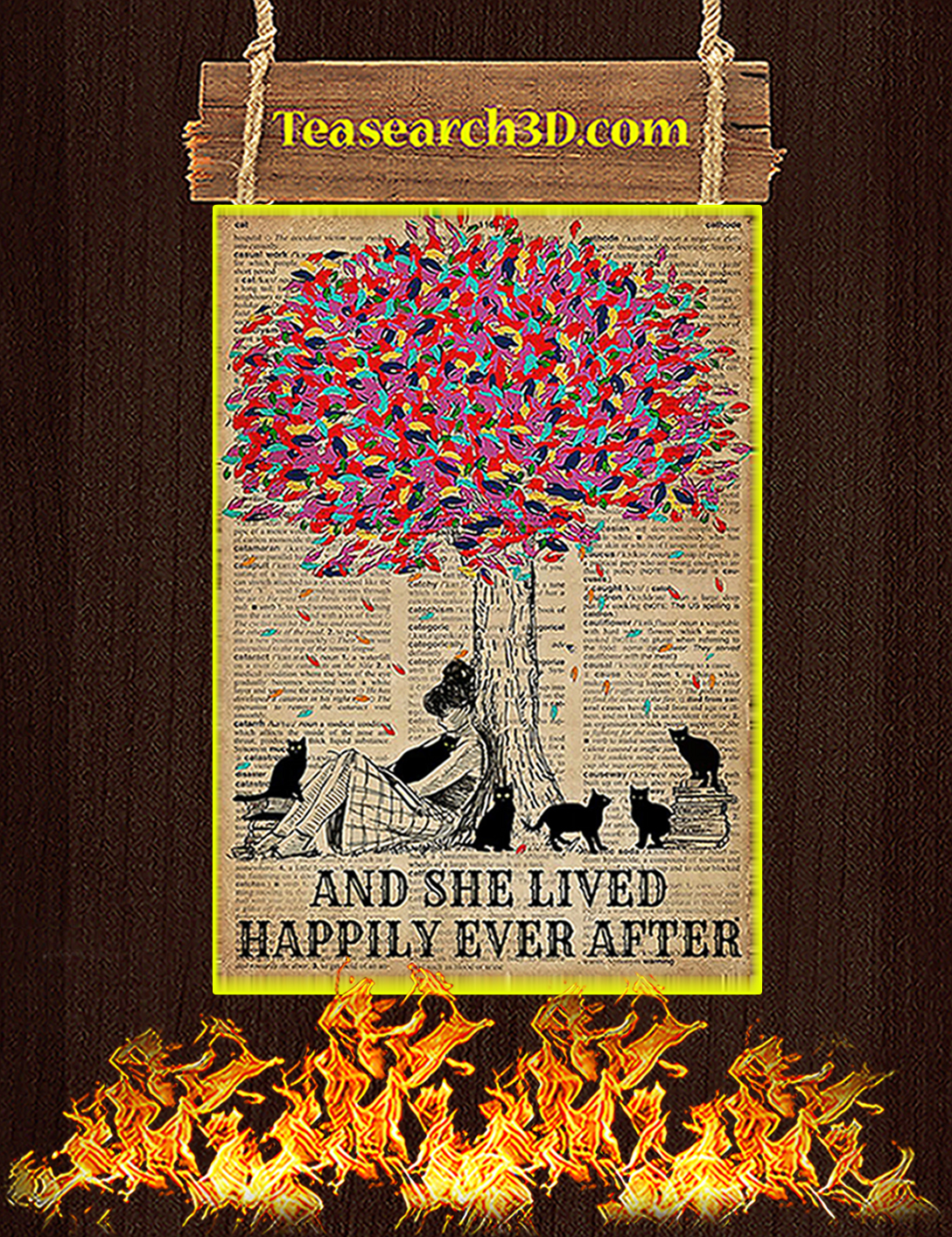 Trees Black cats And she lived happily ever after poster A2