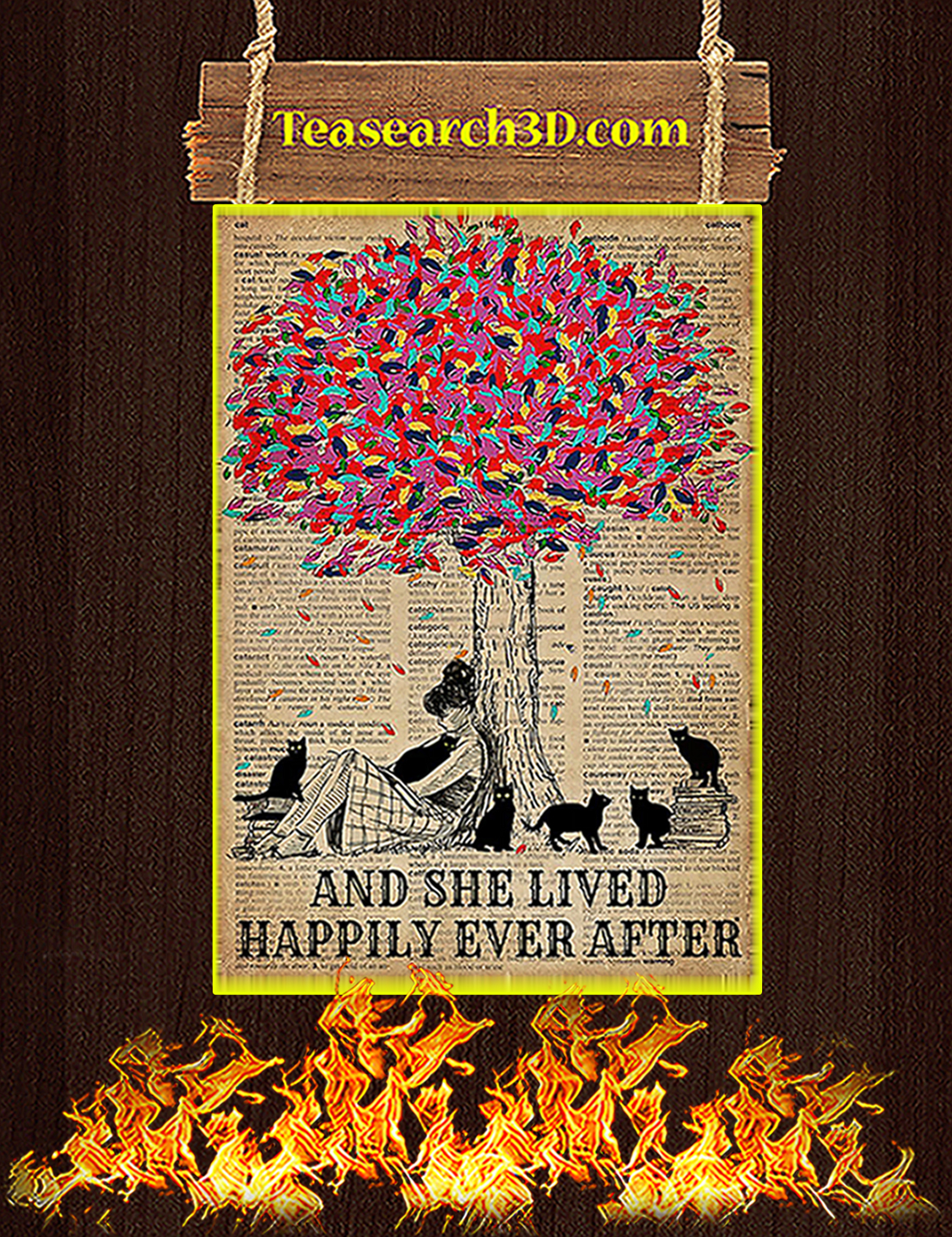 Trees Black cats And she lived happily ever after poster A3