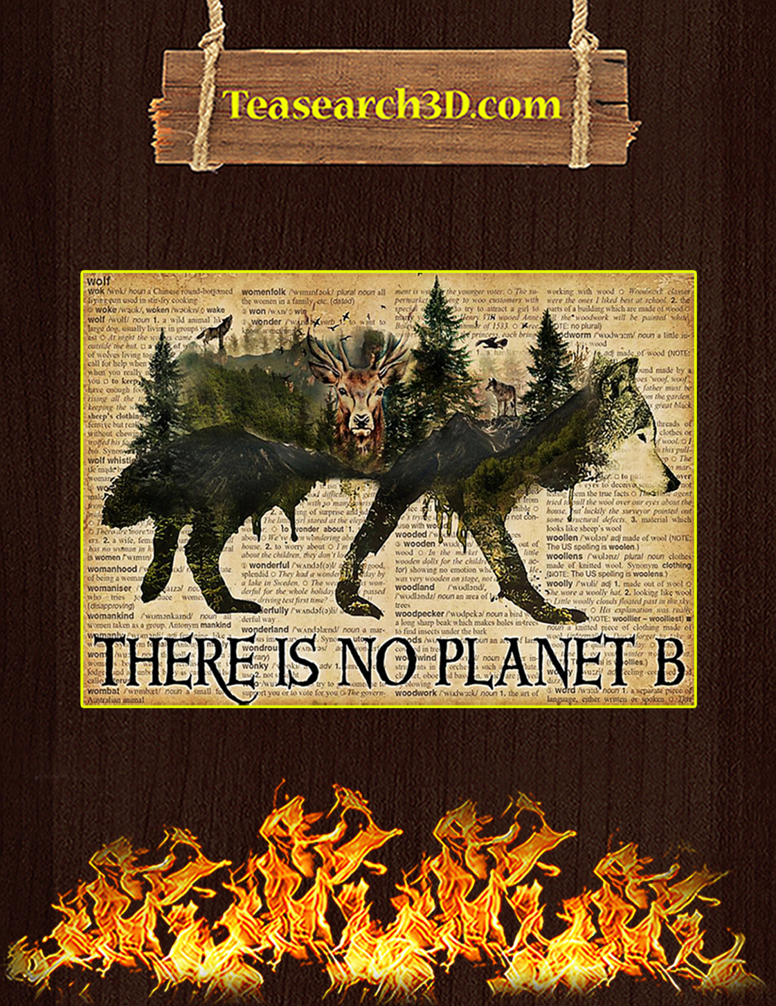Vintage wolf dictionary there is no planet b poster A3