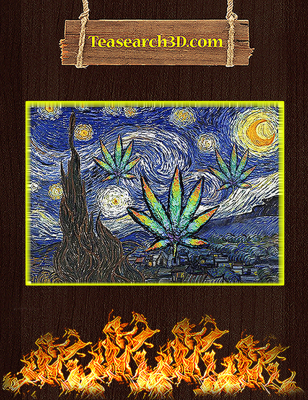 Weed cannabis starry night van gogh poster A1