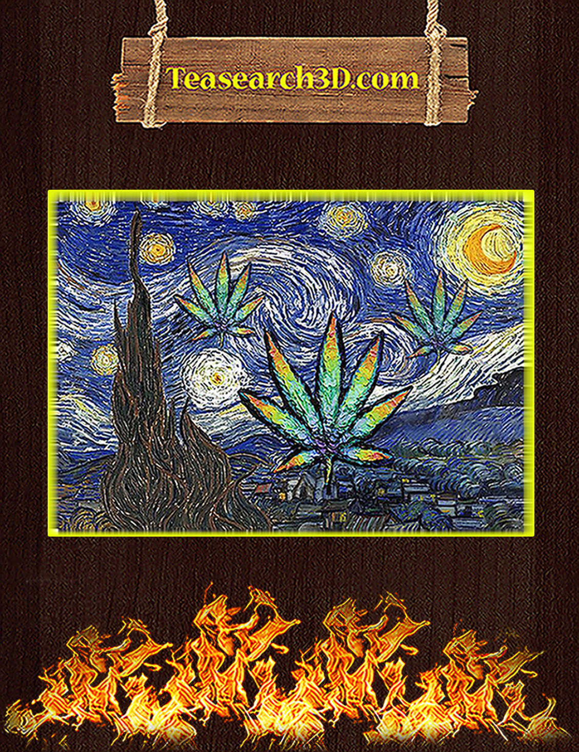 Weed cannabis starry night van gogh poster A3
