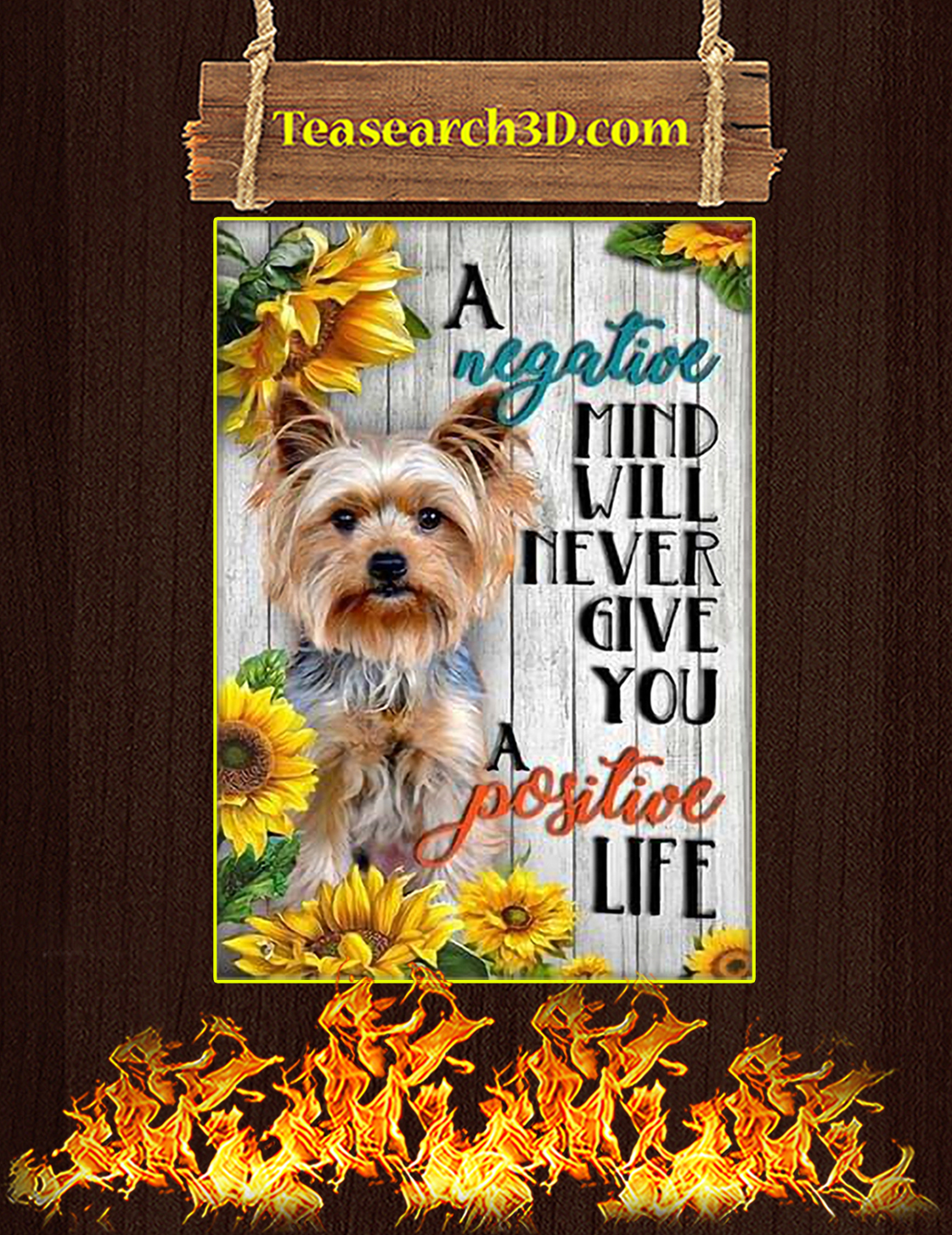 Yorkshire A negative mind will never give you a positive life poster A3