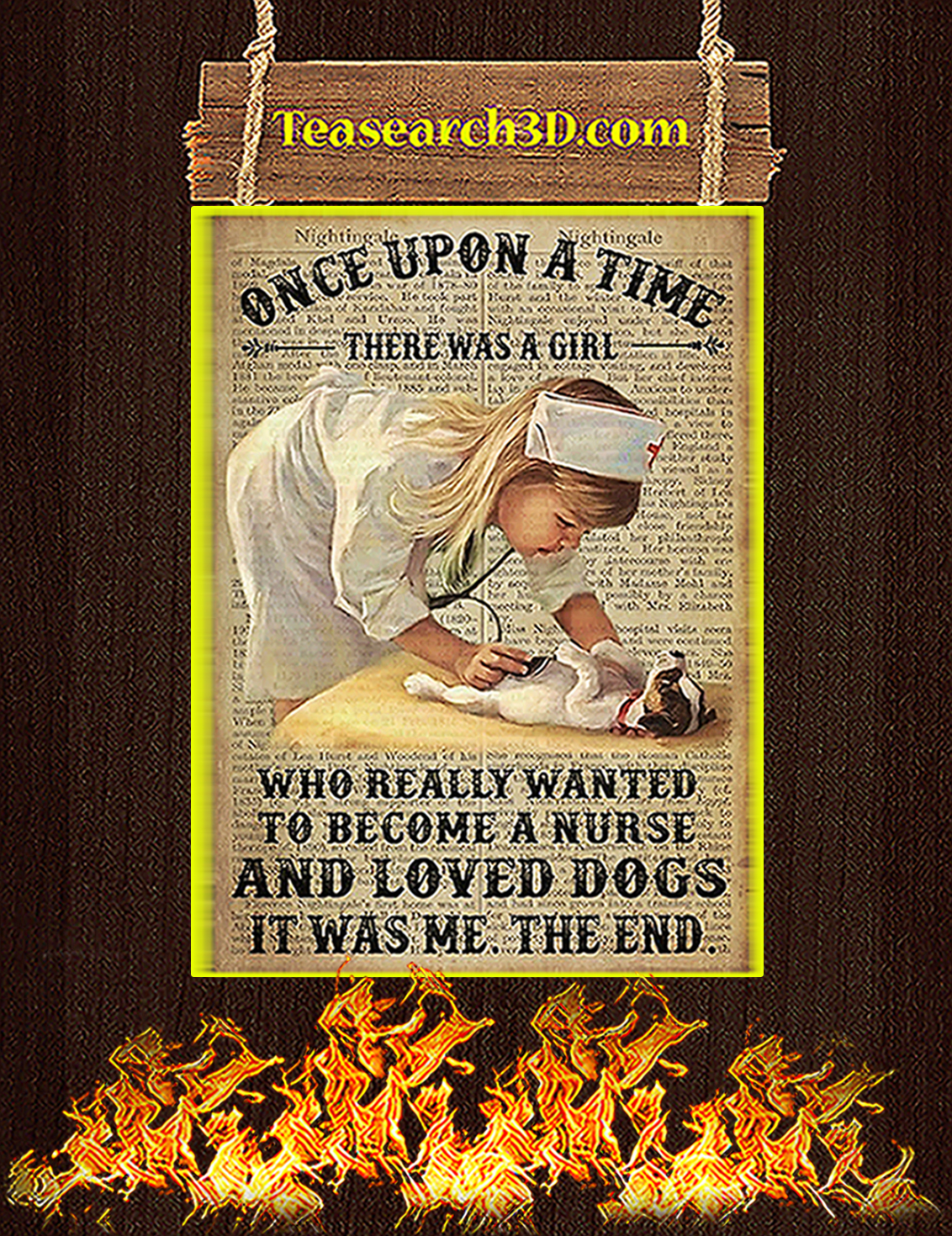 A girl who really wanted to become a nurse and loved dogs poster A3