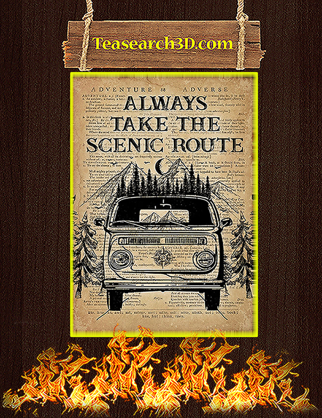 Always take the scenic route poster A1
