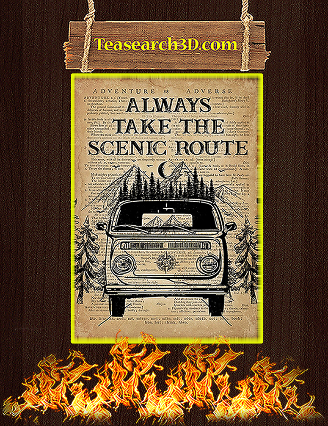 Always take the scenic route poster A2