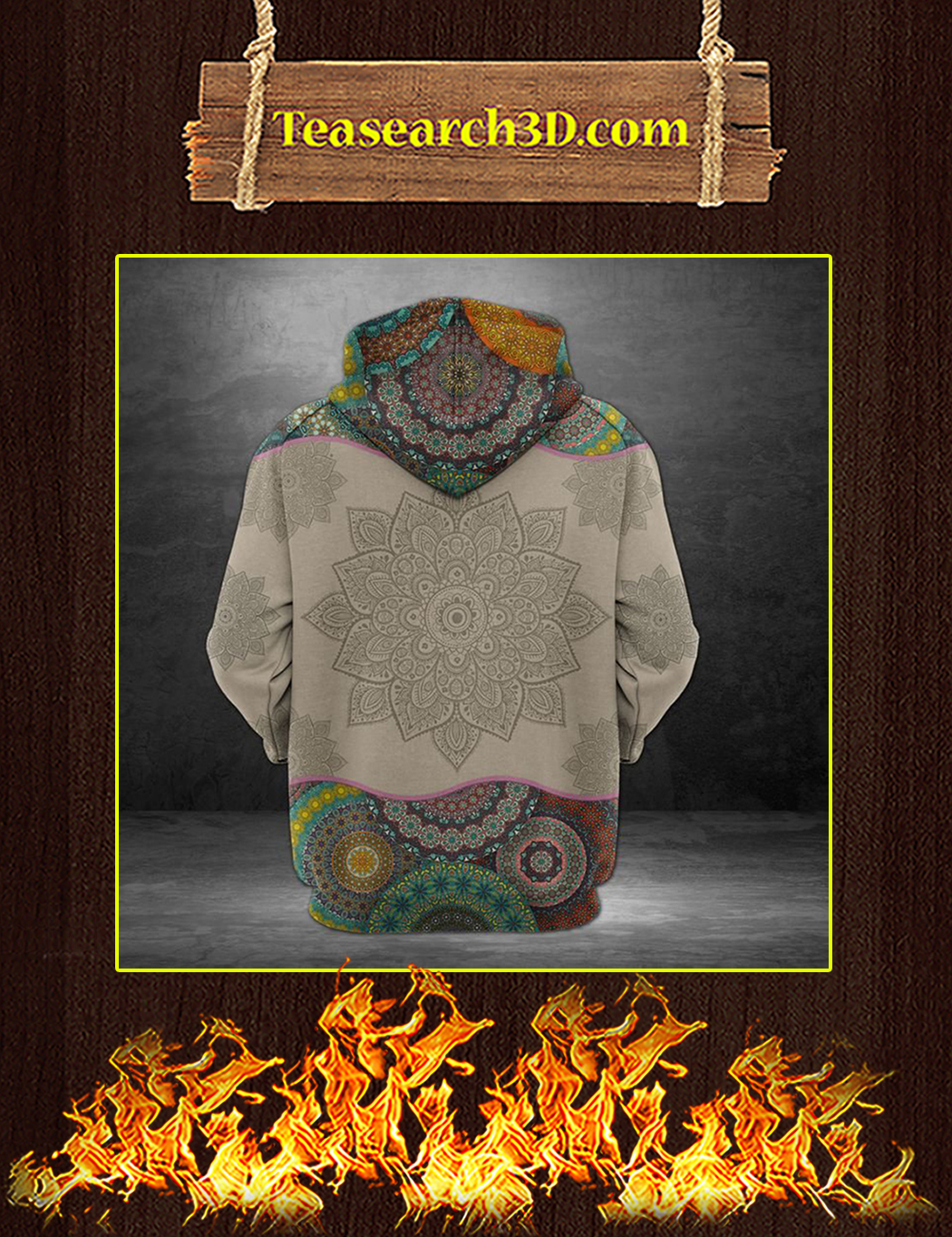 Awesome Michigan Mandala 3D All over print hoodie back