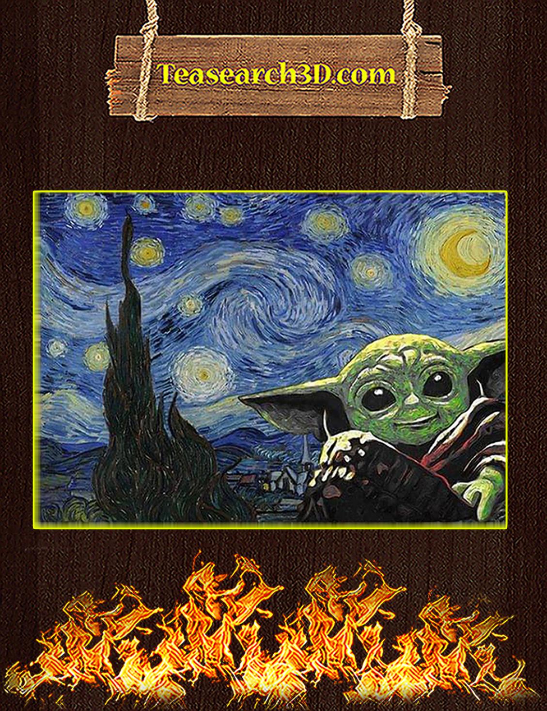 Baby yoda starry night van gogh poster A3