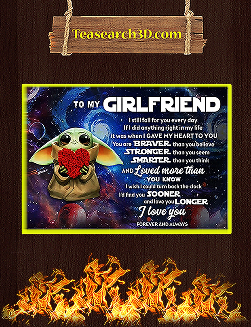 Baby yoda to my girlfriend poster A1