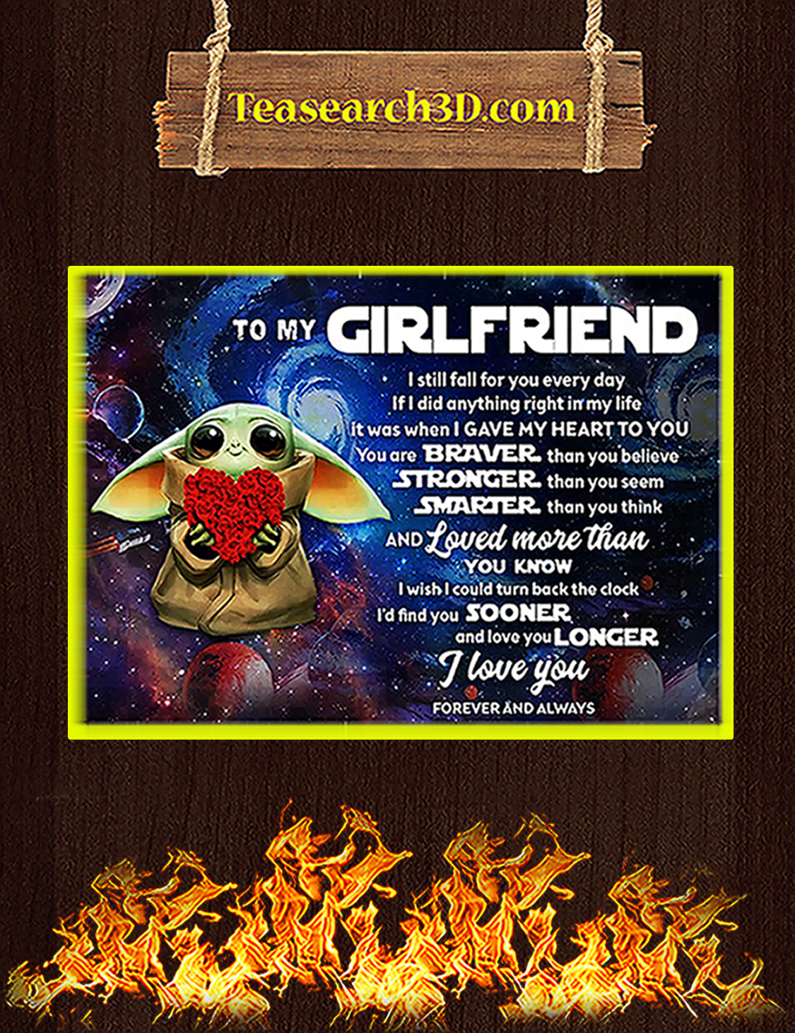 Baby yoda to my girlfriend poster A3