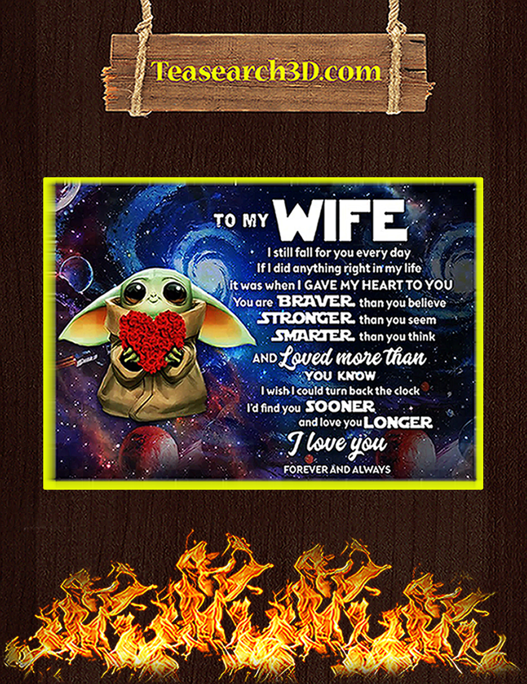 Baby yoda to my wife poster A2