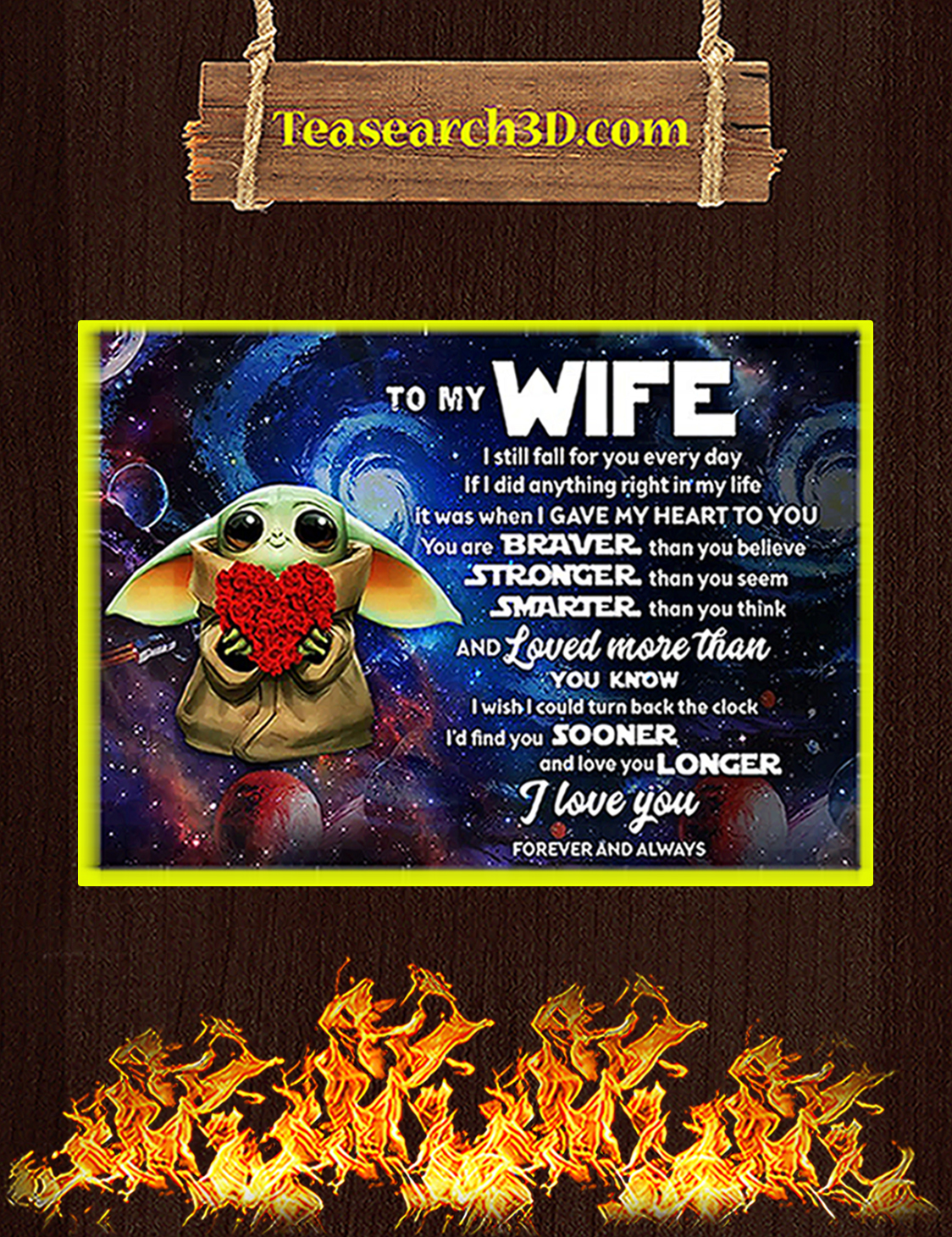 Baby yoda to my wife poster A3