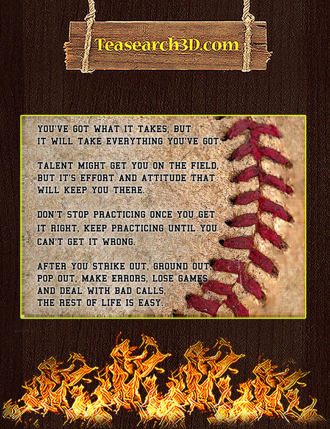Baseball motivation you got what it takes poster A3