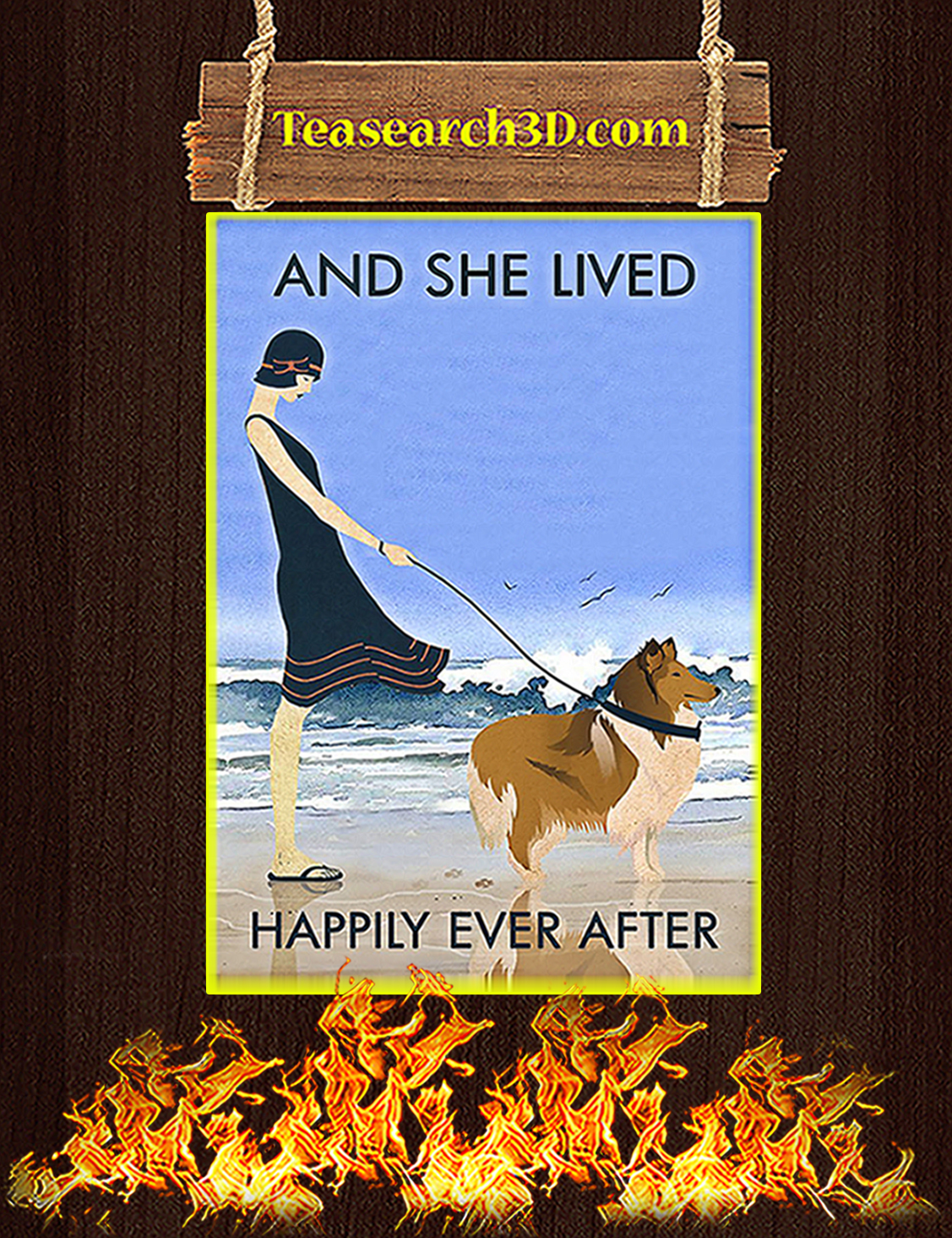 Beach and collie dog and she lived happily ever after poster A3